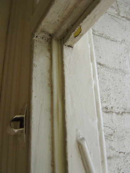 Front door frame with foam strips