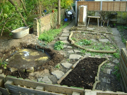 One slightly muddy pond ready for bugs and bits