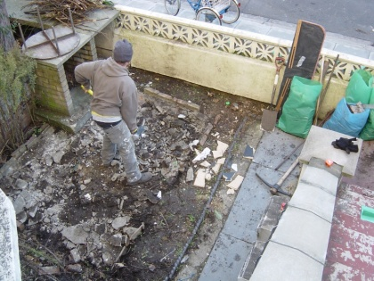Breaking up the front patio back in december 08