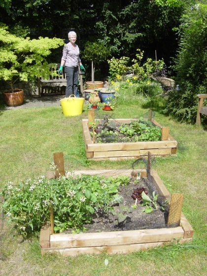 Mum with her new raised beds